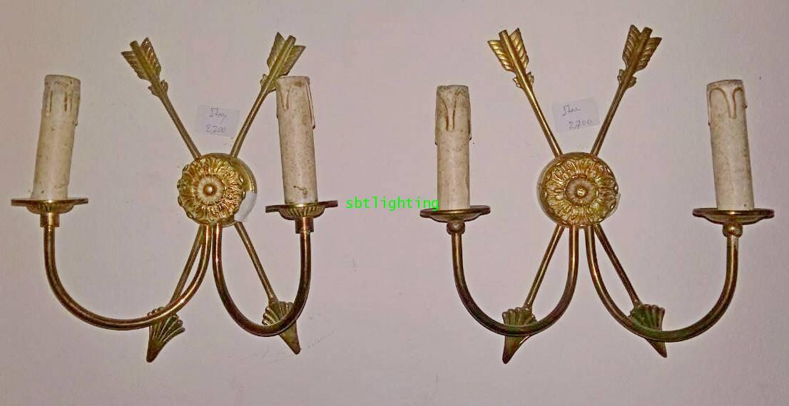 โคมไฟผนังทองสำริด  กิ่งคู่ รูปธนู งานสเปน