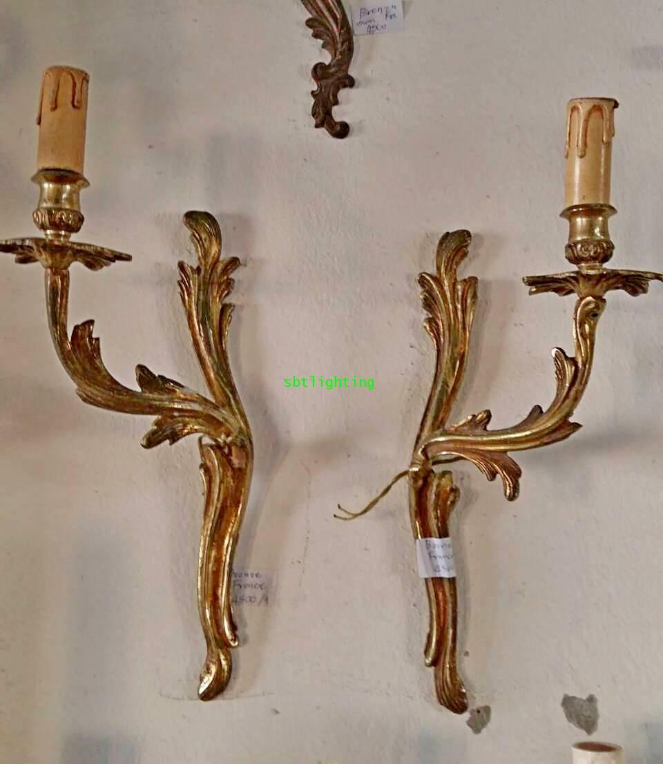 โคมไฟผนังทองเหลืองทองสำริด  งานฝรั่งเศส