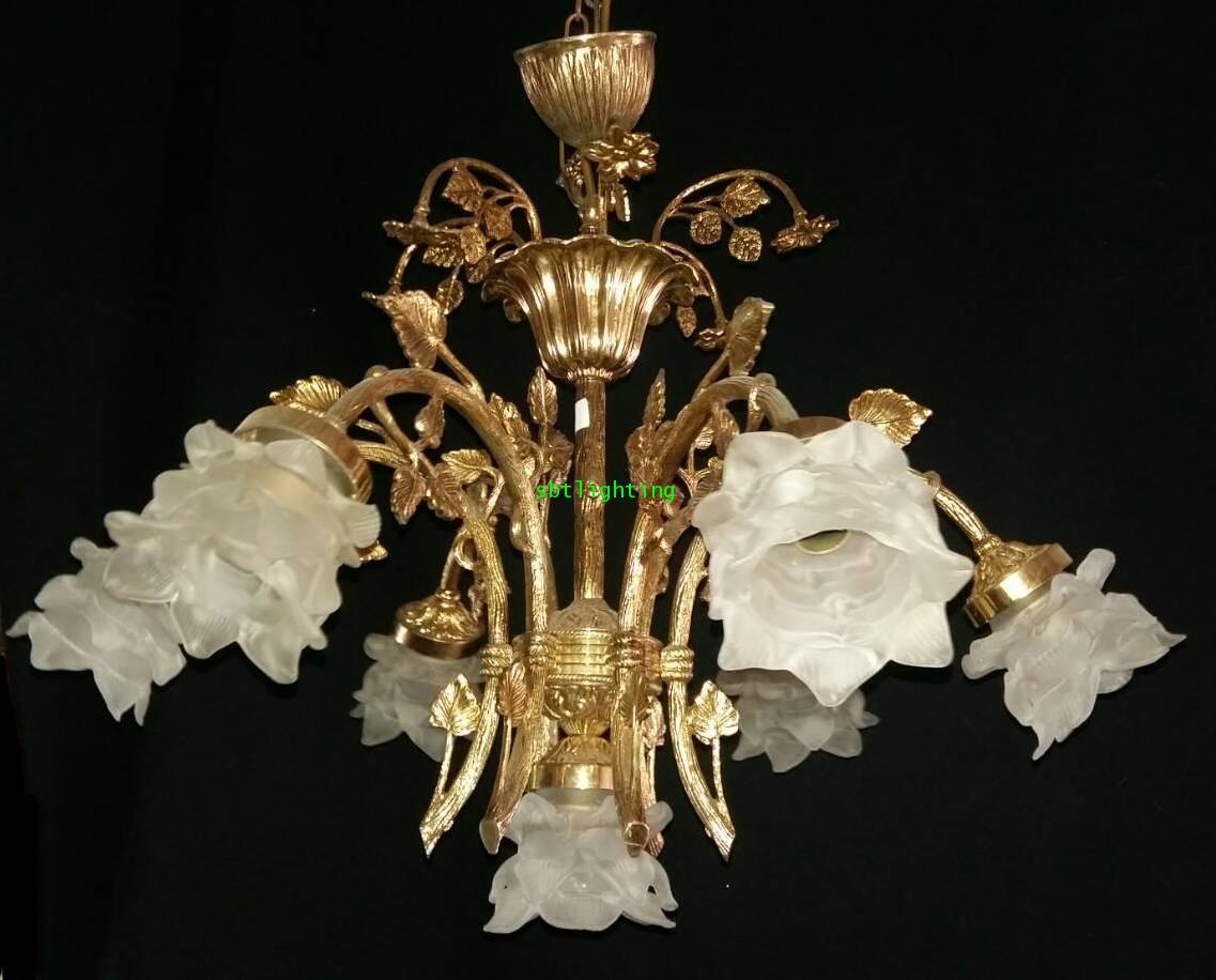 โคมไฟทองเหลืองทองสำริด  งานอิตาลีโป๊ะแก้ว ดอกไม้ ขายแล้ว 1