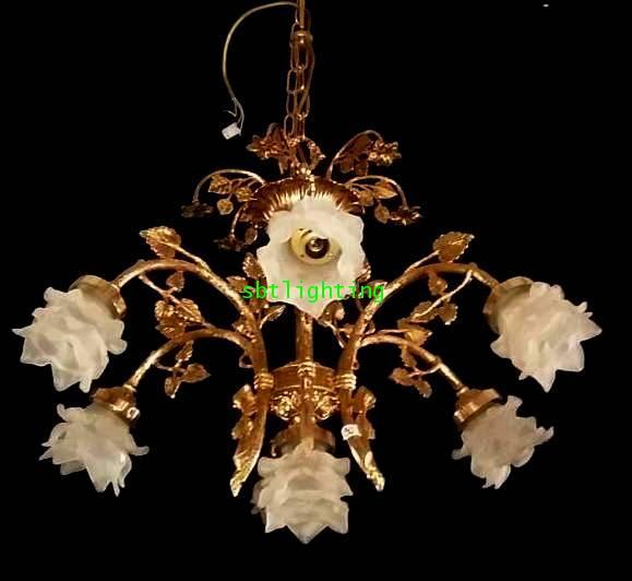 โคมไฟทองเหลืองทองสำริด  งานอิตาลีโป๊ะแก้ว ดอกไม้ ขายแล้ว 2