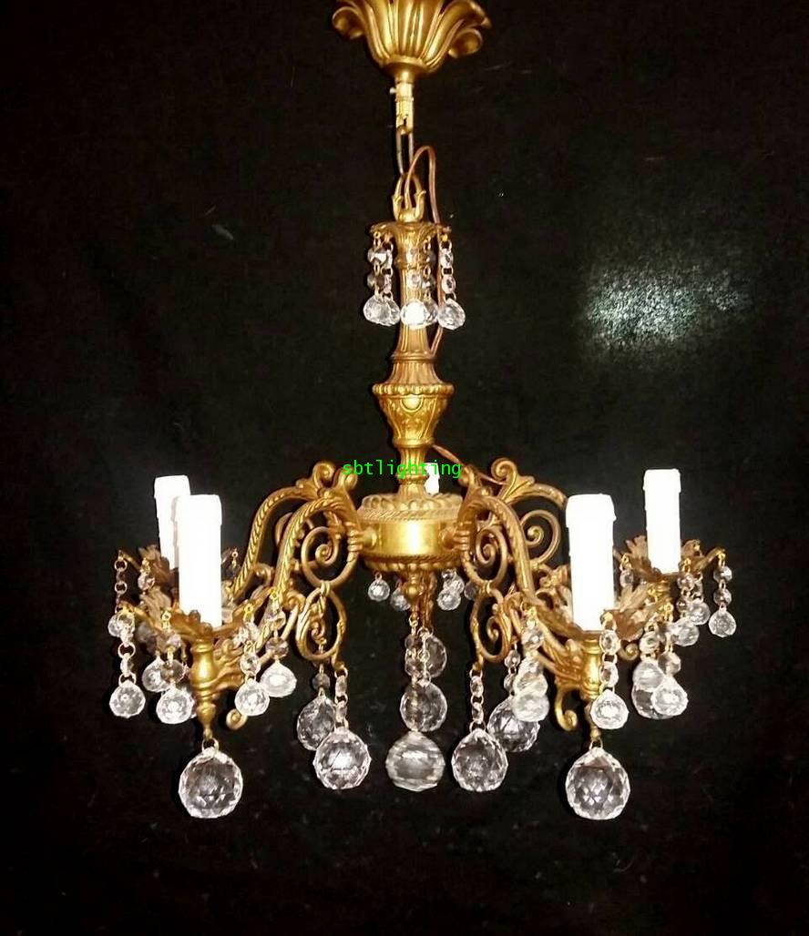 โคมไฟทองเหลือง สำริด  งานอิตาลี ประดับด้วยคริสตัล