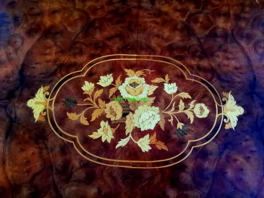 โต๊ะกลาง งานไม้แท้ วีเนียร์ลาย5 สี  งานฝรั่งเศส 2