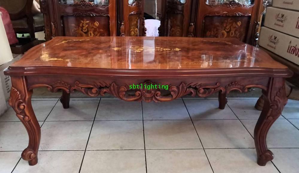 โต๊ะกลาง งานไม้แท้ วีเนียร์ลาย5 สี  งานฝรั่งเศส 5