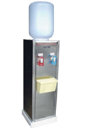 ตู้ทำน้ำร้อน-น้ำเย็น แบบขวดคว่ำ 2 หัวก๊อก(ร้อน-เย็น) กรอบนอก stainless