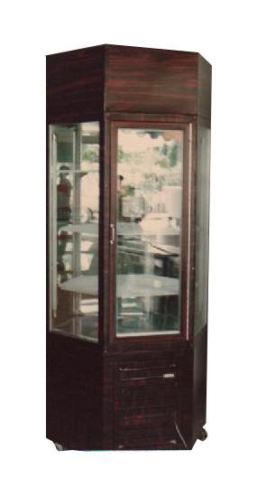 ตู้โชว์เค้กทรงสูง 6 เหลี่ยม (ลายไม้)