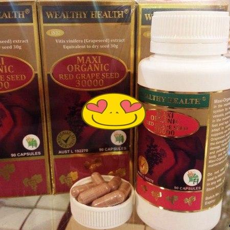 Wealthy health Maxi Organic Red Grape seed 30000 mg 90 capsules สารสกัดจากเมล็ดองุ่นแดง