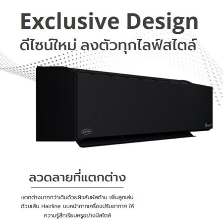 (เงินสด = 34,500 ฿) แอร์แคเรียร์ 42TVAB028/38TVAB028 สีดำ ขนาด 25,200 btu X Inverter Plus R32