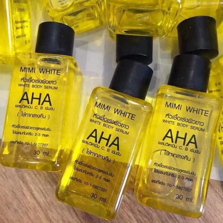 AHA white หัวเชื้อขาว by MIMI White AHA สูตรออริจินัล W.45 ราคาส่งถูกๆ รหัส BD40