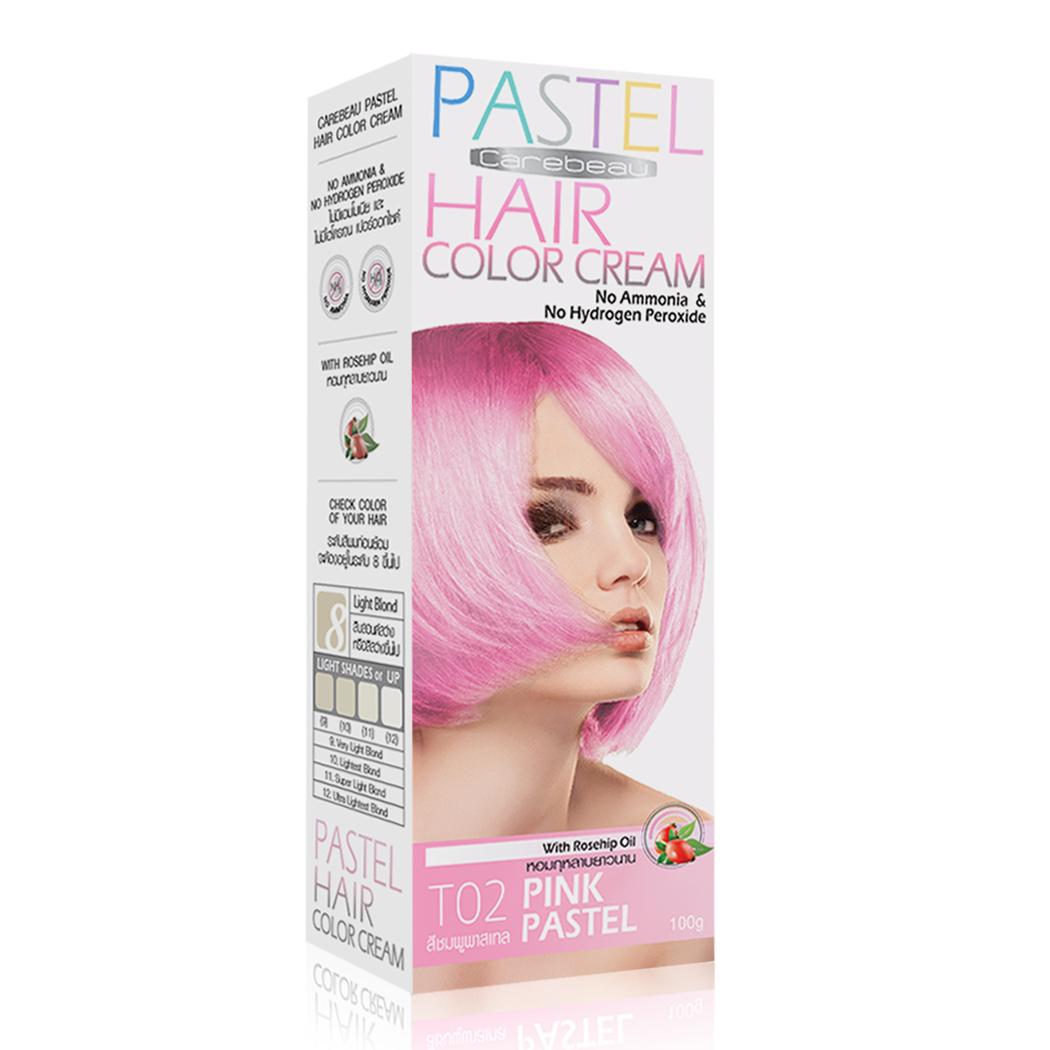 ครีมเปลี่ยนสีผมแคร์บิว CAREBEAU PASTEL HAIR COLOR CREAM T02 สีชมพพาสเทล ราคาส่งถูก ๆ W.165 รหัส H138