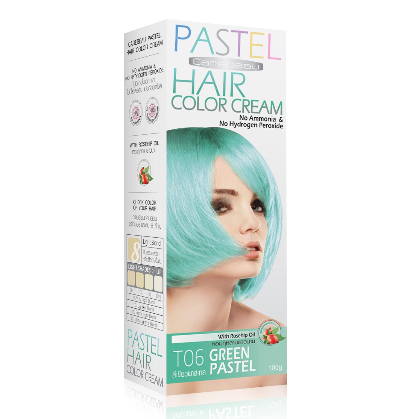 ครีมเปลี่ยนสีผมแคร์บิว CAREBEAU PASTEL HAIR COLOR CREAM T04 สีเขียวพาสเทล ราคาถูก ๆ W.165 รหัส H142