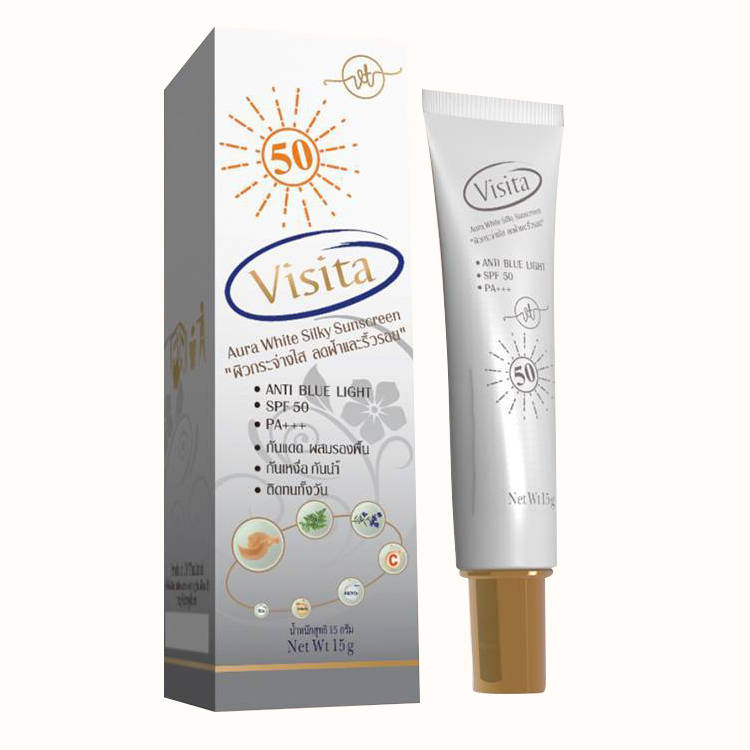 Visita Aura White Silk Sunscreen วิสิตต้า ออร่า ไวท์ ซิลกี้ ซันสกรีน 15 g. W.45 รหัส. SF52