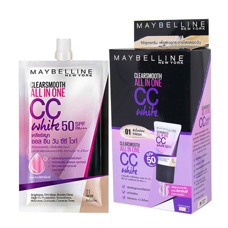 Maybelline Clear Smooth All in One CC White SPF50/PA+++01 สีเนื้ออ่อน (ขายยกกล่อง) W.95 รหัส S209