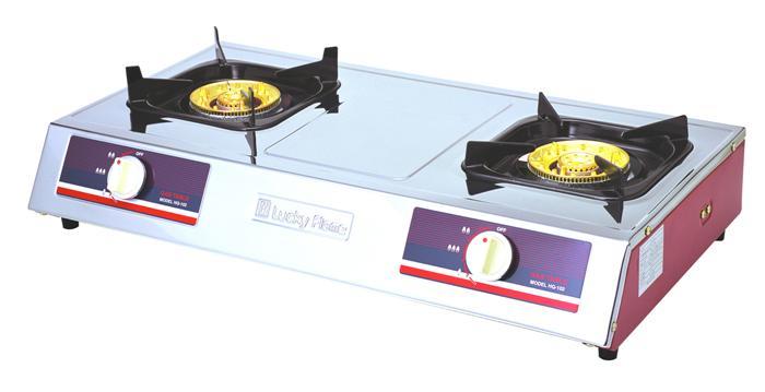 เตาแก๊สตั้งโต๊ะ 2 หัวเตา หน้าเตาสแตนเลส ข้างสี Lucky Flame รุ่น HQ-102