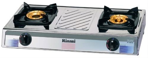 เตาแก๊สตั้งโต๊ะ 2 หัวเตา สแตนเลสทั้งตัว หัวเตาทองเหลือง Rinnai รุ่น RY-9002SS