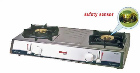 เตาแก๊สตั้งโต๊ะ 2 หัวเตา สแตนเลสทั้งตัว หัวเตาทองเหลือง Rinnai รุ่น RE-2SSV (SAFETY SENSOR )