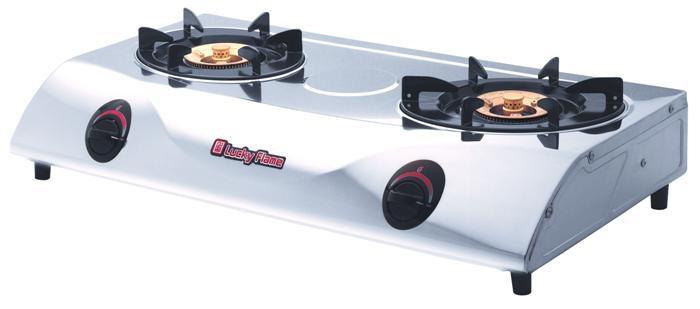 เตาแก๊สตั้งโต๊ะ 2 หัวเตา สแตนเลสทั้งตัว หัวเตาทองเหลือง Lucky Flame รุ่น LFO-2002SS (Safety Divice)