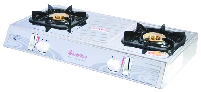 เตาแก๊สตั้งโต๊ะ 2 หัวเตา ระบบอิเล็คทรอนิค สแตนเลสทั้งตัว Luckyflame รุ่น  LF-2PS