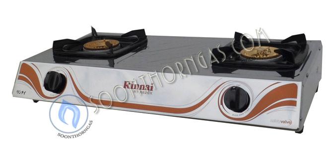 เตาเแก๊สตั้งโต๊ะ 2 หัว หน้าสแตนเลส ข้างเคลือบสีขาว  Rinnai รุ่น RT-882GX (NEW)