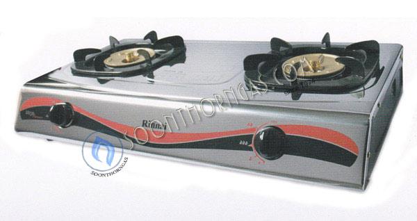 เตาแก๊สตั้งโต๊ะ 2 หัว หน้าสแตนเลส ข้างสี หัวเตาทองเหลือง  Rinnai รุ่น RI-522MM (NEW)
