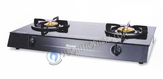 เตาแก๊สกระจก 2 หัว หัวเตาทองเหลือง RINNAI รุ่น RY-9002GD