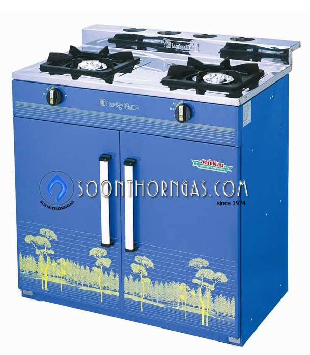 เตาแก๊สตู้ 2 หัว หน้าเตาสแตนเลส ข้างสี Lucky Flame รุ่น HQ-204