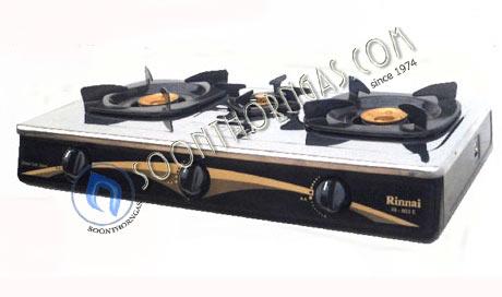 เตาแก๊สตั้งโต๊ะ 3 หัว หน้าสแตนเลส ข้างสี หัวเตาทองเหลือง  Rinnai รุ่น RI-603E (NEW)