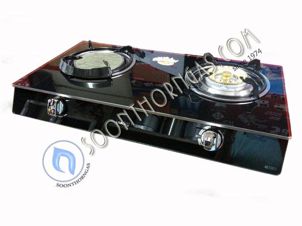เตาแก๊สหน้ากระจก 2 หัว แบบตั้งโต๊ะ ข้างสแตนเลส Luckyflame รุ่น AG-2102S (หัวผสม)