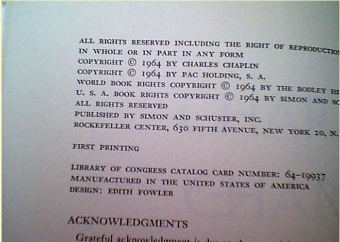 รายเซ็น CHARLIE CHAPLIN : Book MY AUTOBIOGRAPHY 1964 Book Signed Autograph Photos 2