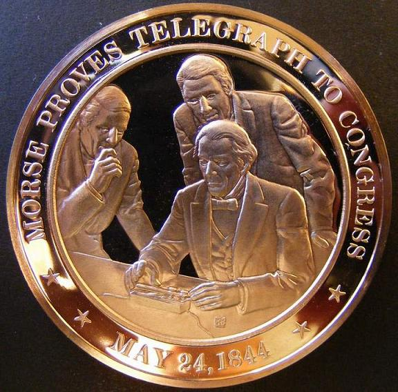 Franklin Mint 1844 Morse Proves Telegraph Medal