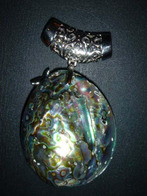 Abalone Shell Peacock Pendant Bead 1