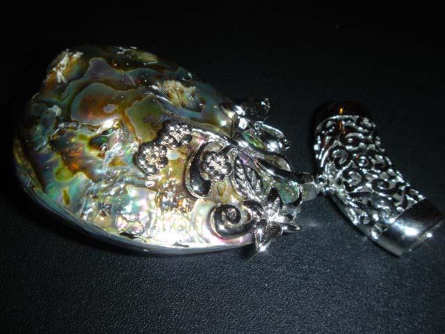 Abalone Shell Peacock Pendant Bead 2