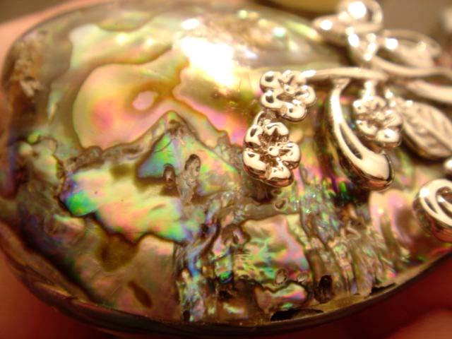 Abalone Shell Peacock Pendant Bead 7