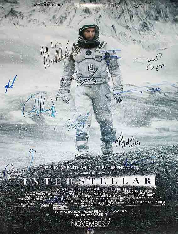 SOLD! Interstellar DS Movie Poster CAST SIGNED Premiere Autograph Poster