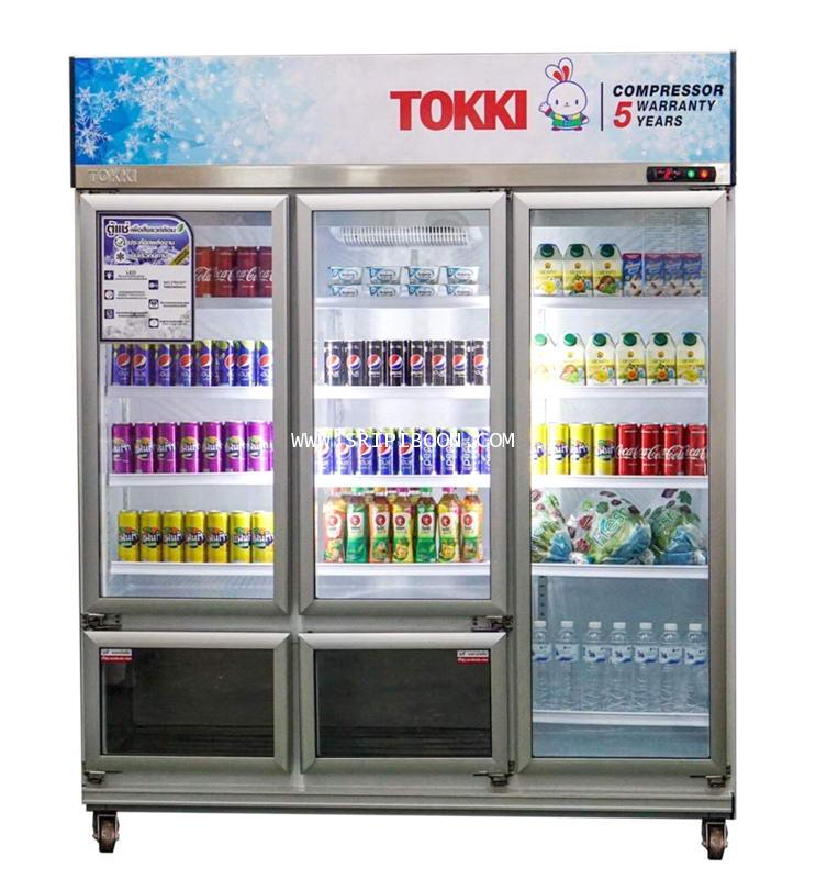 ตู้แช่เครื่องดื่ม ฝากระจก 5 ประตู TOKKI กระต่าย TK-5360FT  ขนาด 36 คิว แช่เย็น 30 คิว, แช่แข็ง 6 คิว
