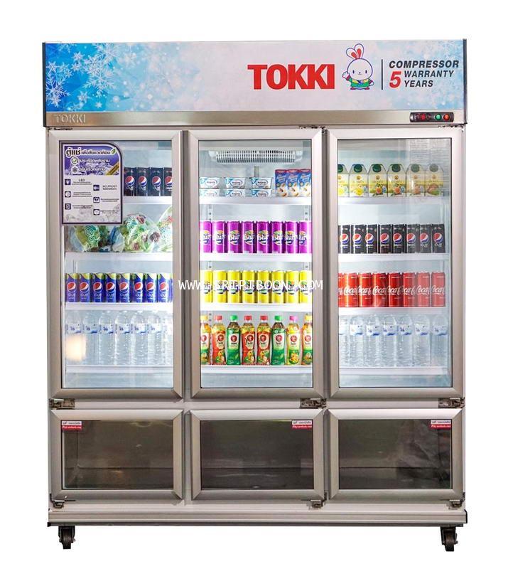 ตู้แช่เครื่องดื่ม ฝากระจก 6 ประตู TOKKI กระต่าย TK-6340FT  ขนาด 34 คิว แช่เย็น 26 คิว, แช่แข็ง 8 คิว
