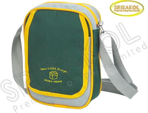 กระเป๋าสะพาย สีเทาอ่อน สลับ สีเขียวเข้ม  รหัส A1827-16B