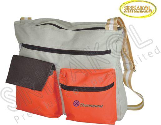 กระเป๋าสะพาย สีกากี สลับ สีส้ม/สีน้ำตาล  รหัส A1828-5B