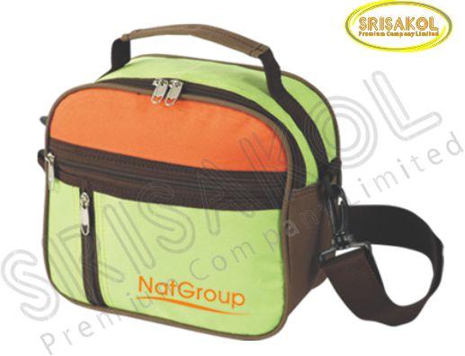 กระเป๋าสะพาย สีเขียวตอง/สีส้ม สลับ สีน้ำตาล รหัส A1830-7B