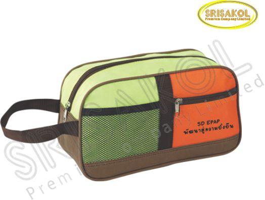 กระเป๋า handbag สีเขียว/สีส้ม สลับ สีน้ำตาล รหัส A1830-6B