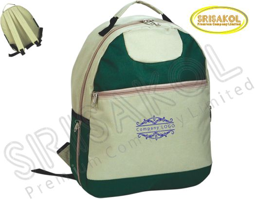 กระเป๋าเป้  สีกากี สลับ สีเขียวเข้ม  รหัส A1825-13B
