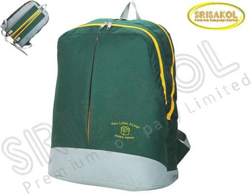 กระเป๋าเป้ สีเขียวเข้ม สลับ สีเทาอ่อน รหัส A1827-10B
