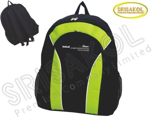 กระเป๋าเป้ สีดำ สลับ สีเขียวตอง รหัส A1829-12B