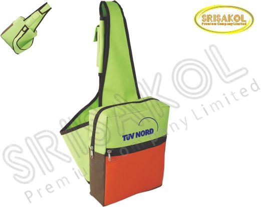 กระเป๋าเป้ สีเขียวตอง สลับ สีส้ม สลับ สีน้ำตาล รหัส A1830-3B