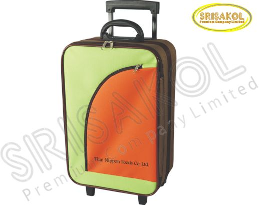 กระเป๋าโครงมีล้อลาก  สีน้ำตาล สลับ สีเขียว สลับ สีส้ม รหัส A1830-1B