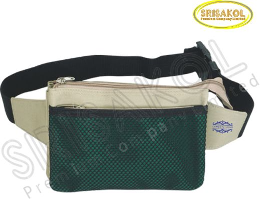 กระเป๋าคาดเอว สีกากี สลับ สีเขียว รหัส A1825-8B