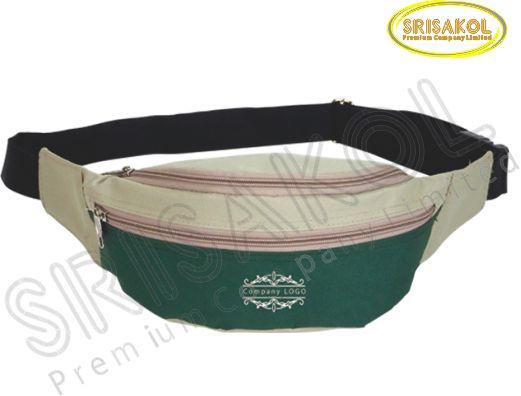 กระเป๋าคาดเอว สีกากี สลับ สีเขียว รหัส A1825-12B