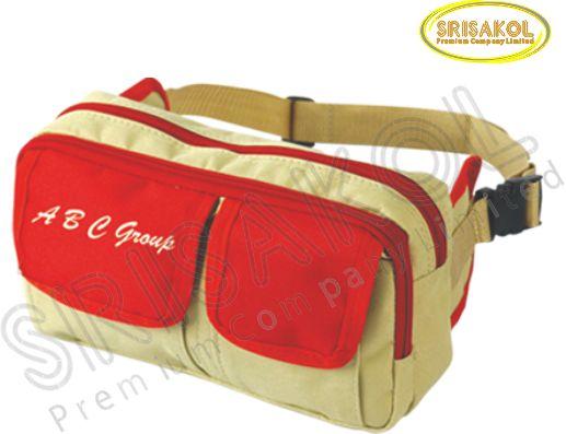 กระเป๋าคาดเอว สีกากี สลับ สีแดง  รหัส A1830-16B