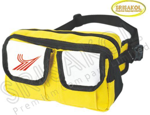 กระเป๋าคาดเอว สีเหลือง สลับ สีขาว รหัส A1834-21B