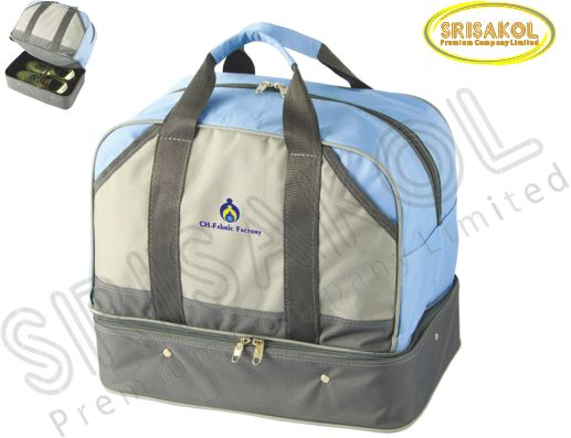 กระเป๋ากอล์ฟ สีฟ้า สลับ สีเทาอ่อน สลับ สีเทาเข้ม รหัส A1833-18B