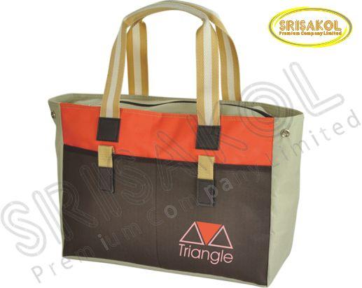 กระเป๋าช้อปปิ้ง สีกากี สลับ สีน้ำตาล สลับ สีส้ม รหัส A1828-7B